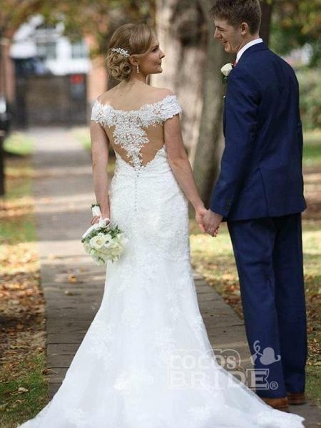 Elegant Cap Sleeves Lace Sweep Train Mermaid Wedding Dresses_2