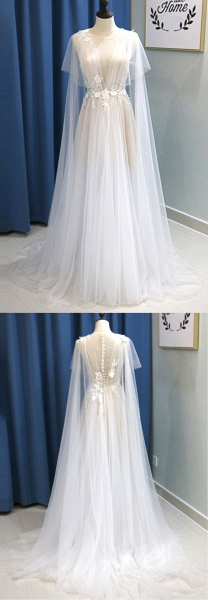 White Tulle V Neck A Line Beach Wedding Dress_6