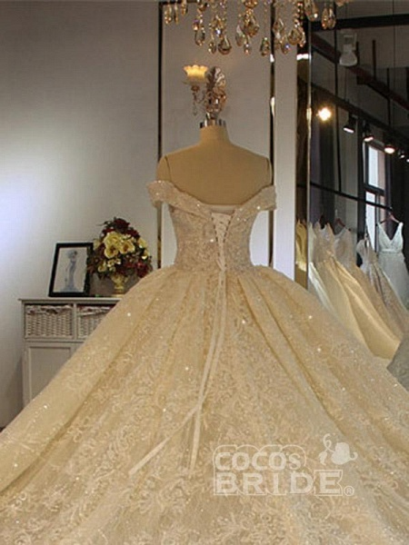 Luxury Off-the-Shoulder Lace-Up Ball Gown Wedding Dresses with Beading_2
