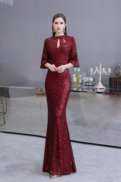 Burgundy Short Sleeve Sequins Long Prom Dress_2