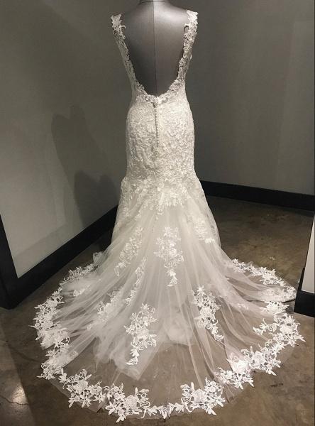 Ivory Lace Long V Neck Mermaid Open Back Wedding Dress_3