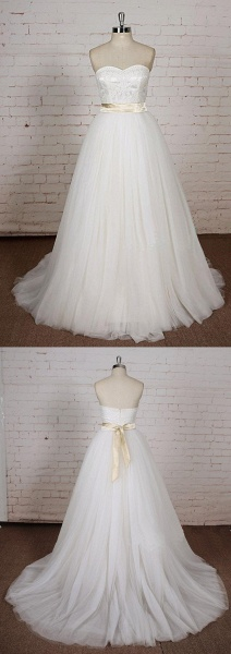 White Lace Tulle A Line Simple Wedding Dress_4