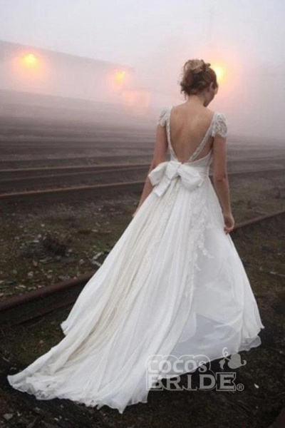 Romantic V Neck Cap Sleeves Chiffon Beach Wedding Dress_2