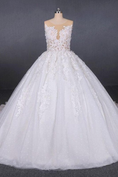 Ball Gown Sheer Neck Sleeveless White Lace Appliqued Wedding Dress_1