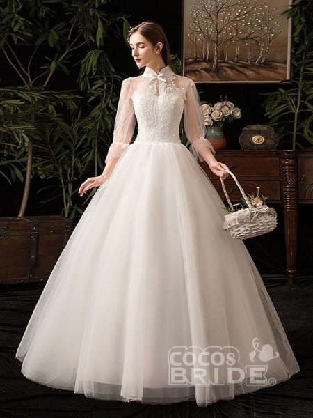 Gorgeous High Collar 3/4 Sleeve Lace-Up Ball Gown Wedding Dresses_2
