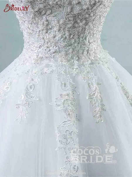 Spaghetti Straps Lace-Up Ball Gown Wedding Dresses_4