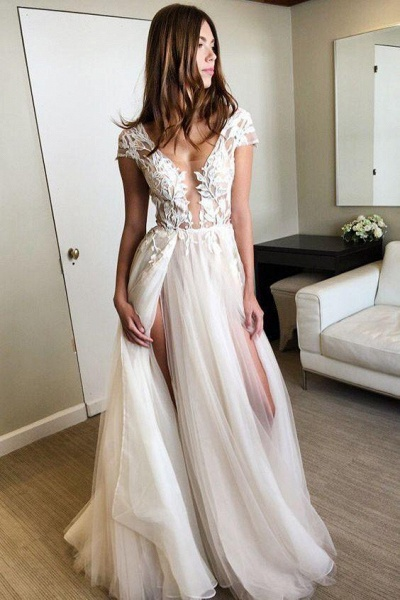 Cap Sleeve Deep V-neck With Appliques Sexy Split Tulle Wedding Dress_1