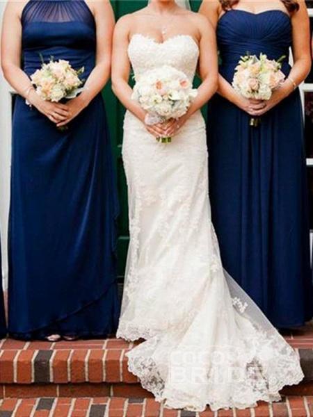 Gentle Sweetheart Sleeveless Lace Mermaid Wedding Dresses_3