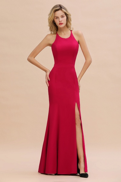 Red Mermaid Halter Prom Dress Long Evening Gowns_4