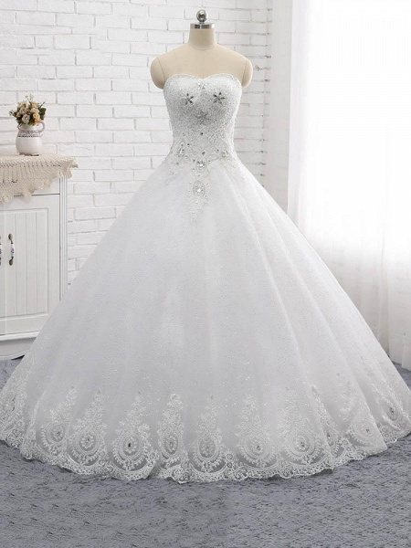 Gorgeous Sweetheart Appliques Ball Gown Wedding Dresses_1