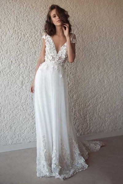 Ivory Cap Sleeve V Neck Beach Boho Appliques Wedding Dress_1