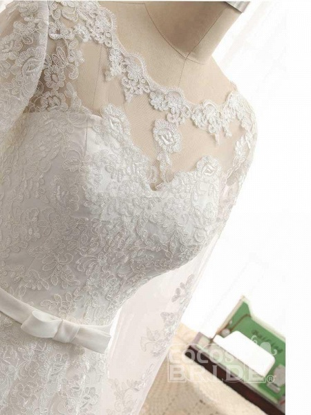Gorgeous Long Sleeves Lace Ribbon Tulle Wedding Dresses_4