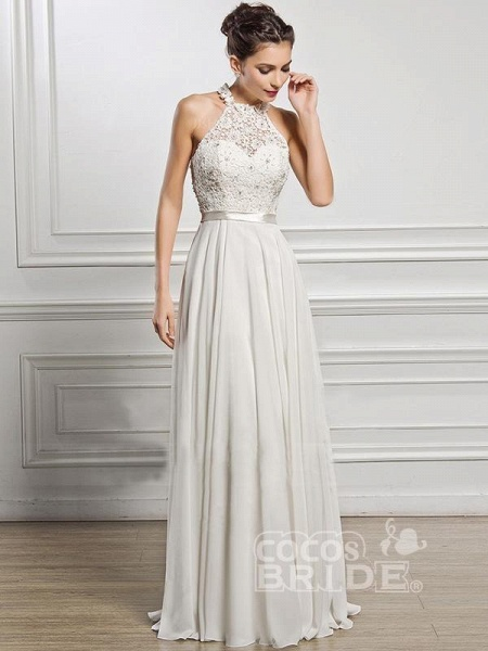 Halter Sleeveless Open Back A-Line Wedding Dresses_5