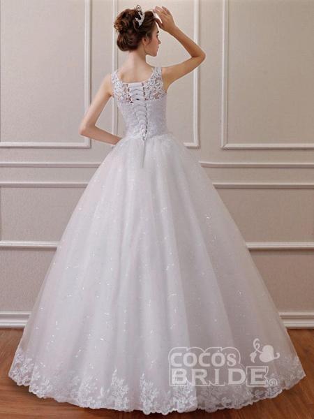Elegant Sleeveless Lace Ball Gown Wedding Dresses_2