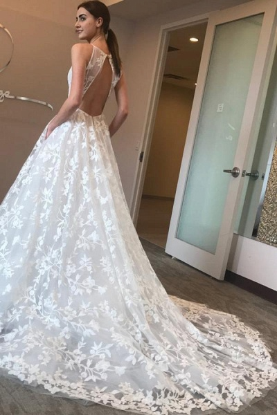 Spaghetti Straps Deep V-neck Sweep Train Lace Beach Wedding Dress_1