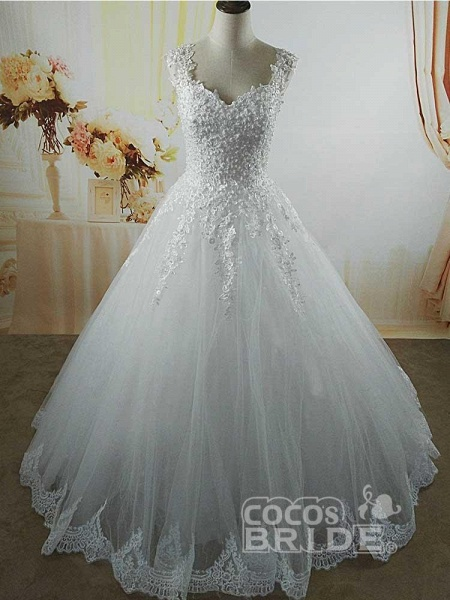 Pearls A-Line Tulle Wedding Dresses_2