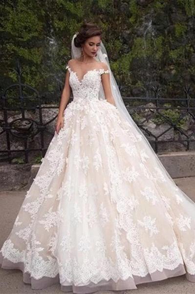 Gorgeous Sheer Neck Cap Sleeves Lace Appliques A Line Wedding Dress_1