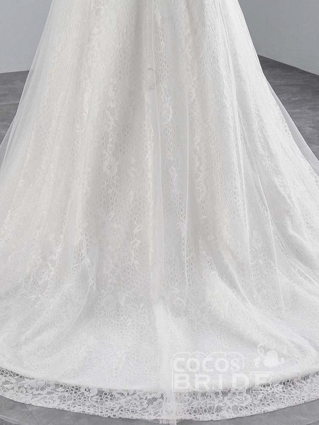 Elegant Lace Appliques Mermaid Pleated Wedding Dresses_5