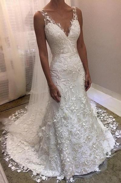 Ivory V Neck Sheath Sleeveless Backless Charming Lace Wedding Dress_1