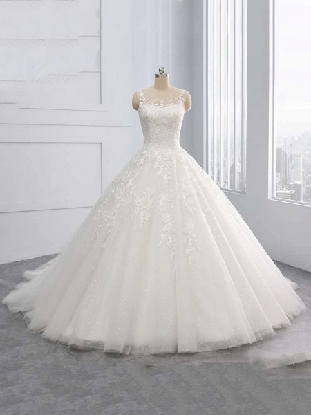Gorgeous Lace-Up Sweep Train Ball Gown Wedding Dresses_1