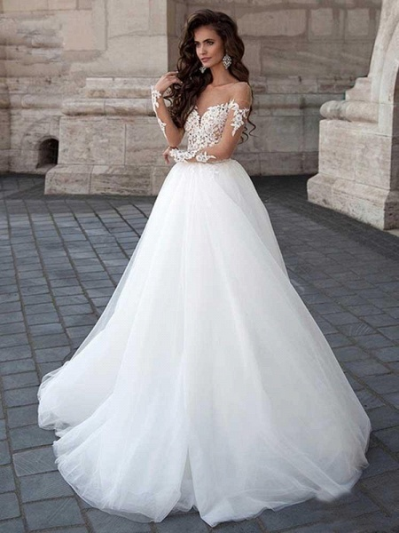 New Long Sleeve Backless Lace A-Line Tulle Wedding Dresses_1