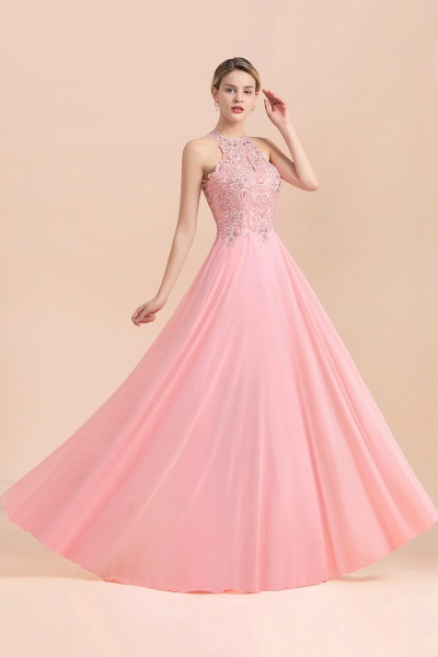 Pears Crystal A Line Halter Wedding Dresses Lace Wedding Gowns_9