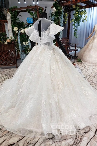 Gorgeous Ball Gown Big Princess Sleeves Wedding Dress_2