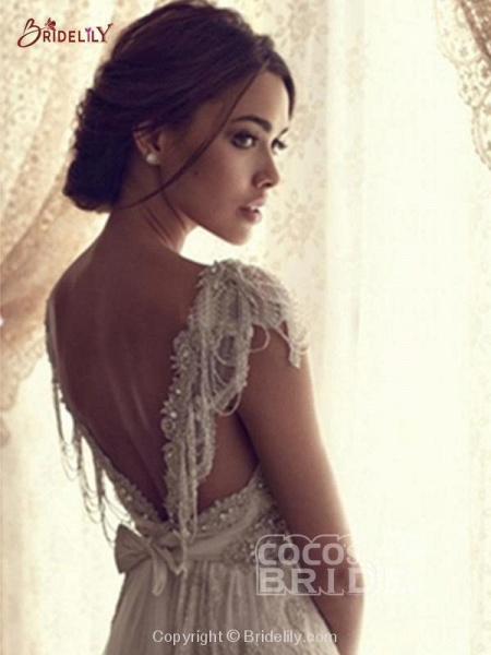 V Neck Backless Boho Wedding Dresses_5