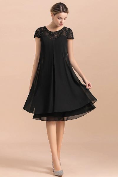 Chiffon Black Cap Sleeve Short Mother of Bride Dress_7