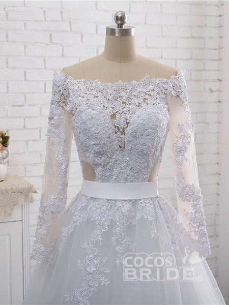 Elegant Long Sleeves Lace Covered Button Ball Gown Wedding Dresses_4