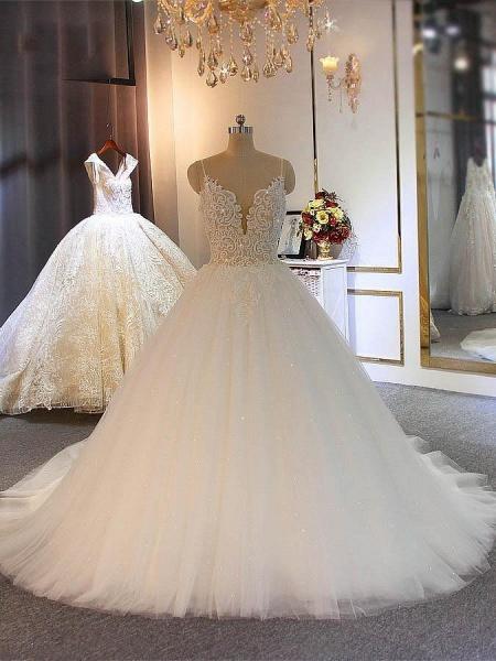 Shiny Spaghetti Strap Zipper Boho Wedding Dresses_1