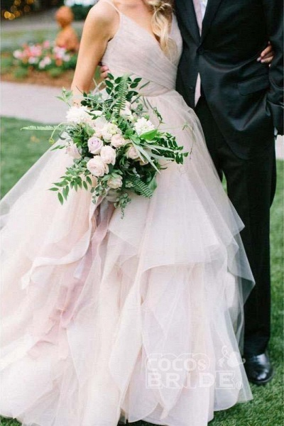 Puffy Spaghetti Straps V Neck Backless Asymmetrical Light Pink Long Wedding Dress_2