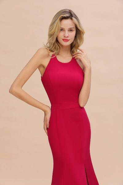 Red Mermaid Halter Prom Dress Long Evening Gowns_5