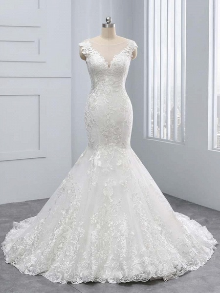 New V-Neck Lace Mermaid Wedding Dresses