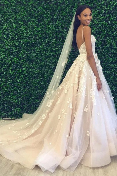 Spaghetti Straps Sweetheart Backless Puffy Tulle Wedding Dress_1