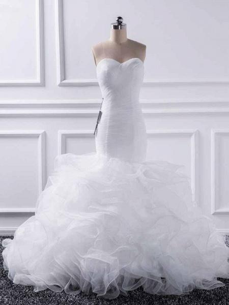 Elegant sweetheart Mermaid Tulle Wedding Dresses_1