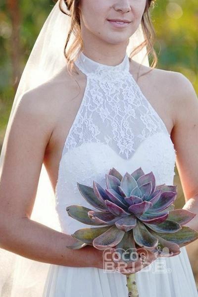 Fashion A-line Halter Sleeveless Backless Chiffon Beach Wedding Dress_3