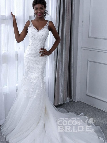 Elegant V-Neck Lace Tulle Mermaid Wedding Dresses_2
