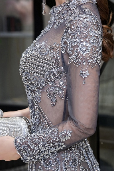 Long Sleeve Mermaid Sequins High-Neck Evening Gowns_13