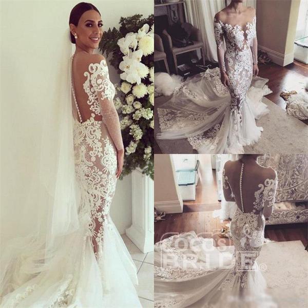 Pretty Mermaid Lace Appliques Long Sleeves Sheer Tulle Wedding Dress_2