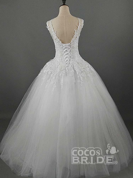 Glamorous Lace Ball Gown Tulle Wedding Dresses_2