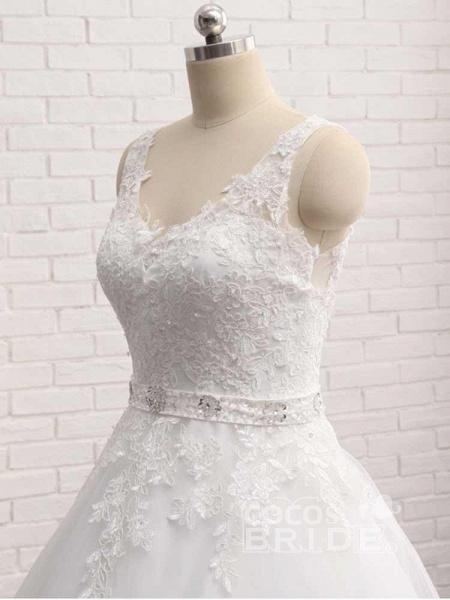 V-Neck Beaded Backless Lace A-Line Wedding Dresses_4