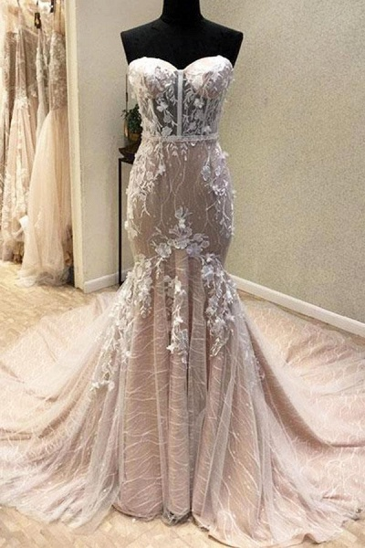 Gorgeous Sweetheart Mermaid Lace Appliqued Strapless Wedding Dress_1