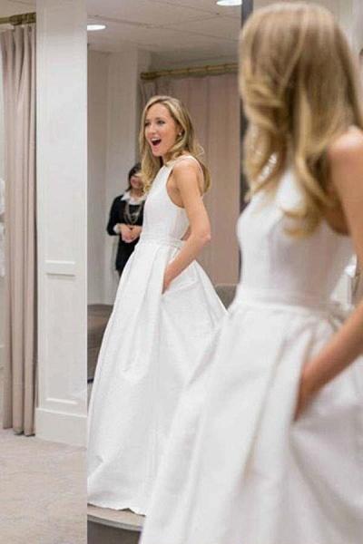 Simple A-Line Criss Cross Back Satin with Pockets Cheap Wedding Dress_1
