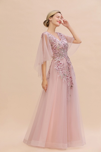 Dusty Pink Tulle Short Sleeve Long Prom Dress_4