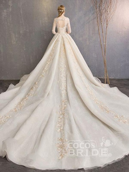 Long Sleeve Lace-Up Applique Ball Gown Wedding Dresses_2