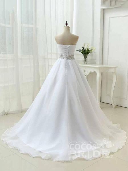 Perfect Sweetheart Lace-Up Ruffles Sash Wedding Dresses_4