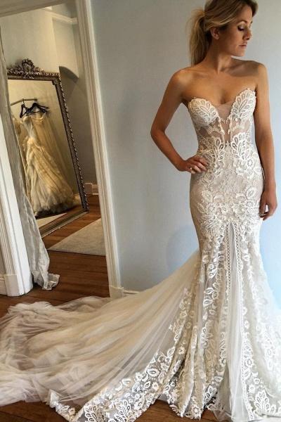 Strapless Mermaid Court Train Sweetheart Wedding Dresses_1