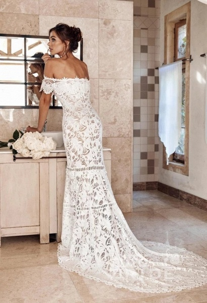 Charming Off the Shoulder Lace Boho Beach Wedding Dress_2