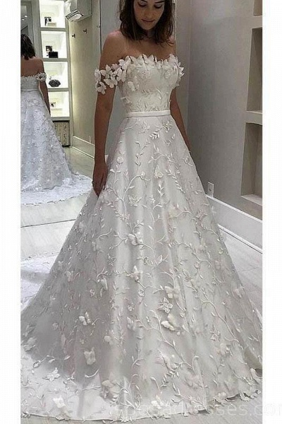 Gorgeous Off the Shoulder Lace White Long Wedding Dress_1